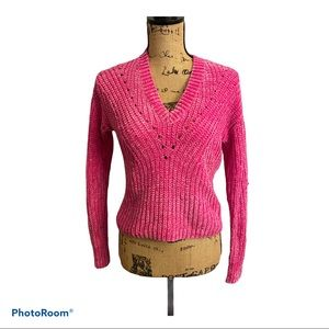 Bar III Sweater Pink Chenille Look V Neck XXS NEW
